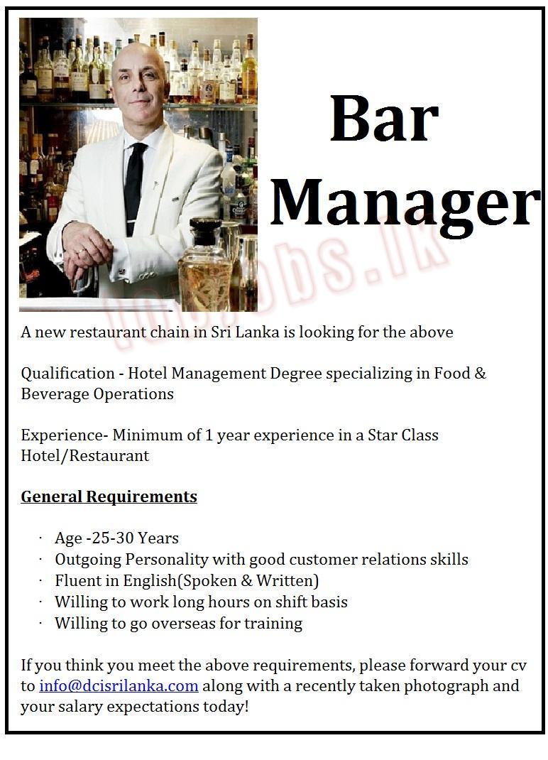 vacancy advertisement bar manager